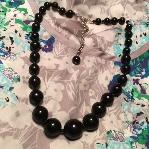 Black beaded necklace with adjustable chain